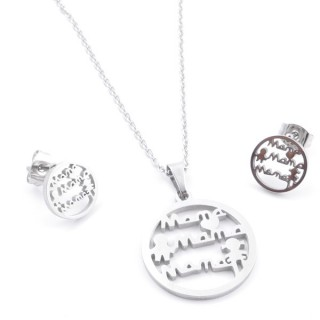 35584-74 SET OF CHAIN, PENDANT AND MATCHING EARRINGS IN STAINLESS STEEL