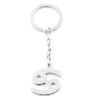 38106-06 STAINLESS STEEL KEY CHAIN WITH CANCER SYMBOL. SIZE 3 CM