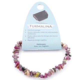 36301 ELASTIC NATURAL TOURMALINE CHIP STONE BRACELET