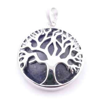 35014-63 FASHION JEWELLERY TREE OF LIFE 27 MM PENDANT WITH STONE IN WHITE QUARTZ
