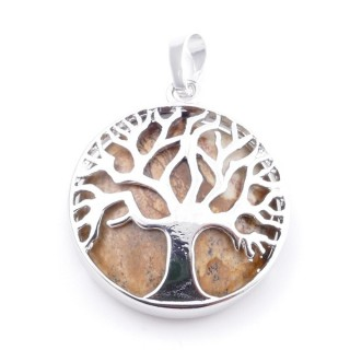 35014-36 FASHION JEWELLERY TREE OF LIFE 27 MM PENDANT WITH STONE IN WHITE QUARTZ