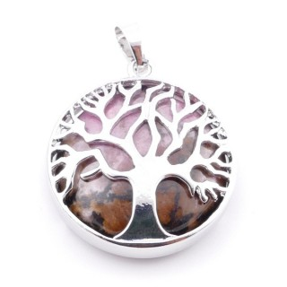 35014-26 FASHION JEWELLERY TREE OF LIFE 27 MM PENDANT WITH STONE IN WHITE QUARTZ