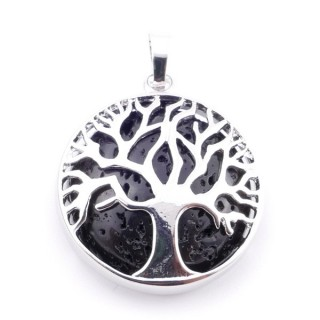 35014-21 FASHION JEWELLERY TREE OF LIFE 27 MM PENDANT WITH STONE IN WHITE QUARTZ