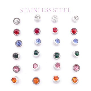 38516 PACK OF 12 PAIRS OF STAINLESS STEEL 6 MM EARRINGS WITH GLASS STONES