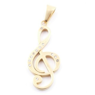 38875 TREBLE CLEF GOLD COLOURED STEEL 39 X 17 MM PENDANT