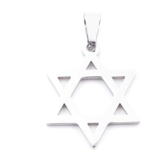 38868-15 STAINLESS STEEL 32 X 25 MM STAR OF DAVID PENDANT