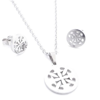 35584-85 SET OF CHAIN, PENDANT AND MATCHING EARRINGS IN STAINLESS STEEL