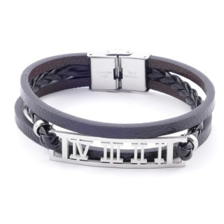 38912-01 STAINLESS STEEL ADJUSTABLE LENGTH SYNTHETIC LEATHER BRACELET