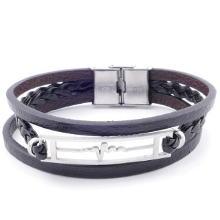 38912-02 STAINLESS STEEL ADJUSTABLE LENGTH SYNTHETIC LEATHER BRACELET
