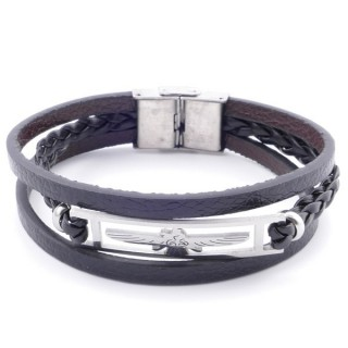 38912-03 STAINLESS STEEL ADJUSTABLE LENGTH SYNTHETIC LEATHER BRACELET