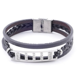 38912-04 STAINLESS STEEL ADJUSTABLE LENGTH SYNTHETIC LEATHER BRACELET