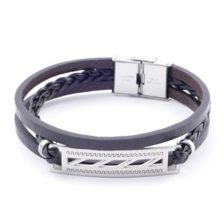 38912-05 STAINLESS STEEL ADJUSTABLE LENGTH SYNTHETIC LEATHER BRACELET