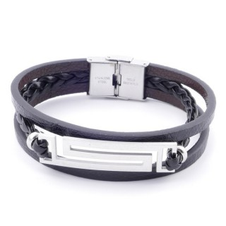 38912-06 STAINLESS STEEL ADJUSTABLE LENGTH SYNTHETIC LEATHER BRACELET