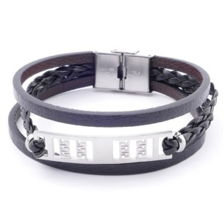 38912-07 STAINLESS STEEL ADJUSTABLE LENGTH SYNTHETIC LEATHER BRACELET