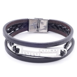 38912-08 STAINLESS STEEL ADJUSTABLE LENGTH SYNTHETIC LEATHER BRACELET