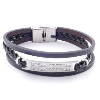 38912-09 STAINLESS STEEL ADJUSTABLE LENGTH SYNTHETIC LEATHER BRACELET