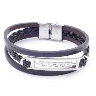 38912-10 STAINLESS STEEL ADJUSTABLE LENGTH SYNTHETIC LEATHER BRACELET