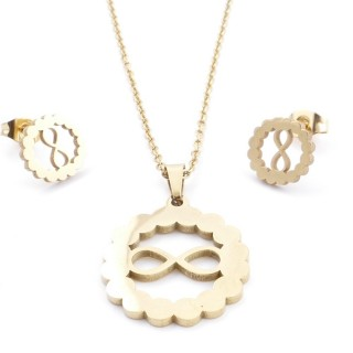 35585-61 SET OF CHAIN, PENDANT AND MATCHING EARRINGS IN STAINLESS STEEL IN GOLD