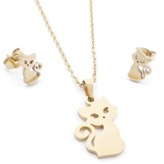 35585-62 SET OF CHAIN, PENDANT AND MATCHING EARRINGS IN STAINLESS STEEL IN GOLD