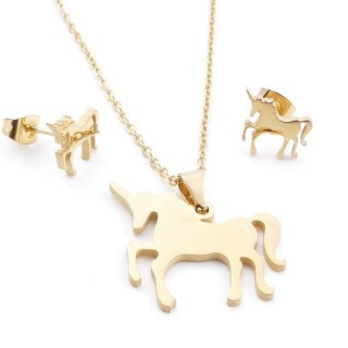 35585-63 SET OF CHAIN, PENDANT AND MATCHING EARRINGS IN STAINLESS STEEL IN GOLD