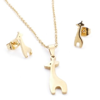 35585-64 SET OF CHAIN, PENDANT AND MATCHING EARRINGS IN STAINLESS STEEL IN GOLD