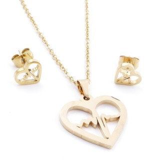 35585-67 SET OF CHAIN, PENDANT AND MATCHING EARRINGS IN STAINLESS STEEL IN GOLD