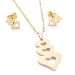 35585-68 SET OF CHAIN, PENDANT AND MATCHING EARRINGS IN STAINLESS STEEL IN GOLD