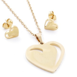 35585-69 SET OF CHAIN, PENDANT AND MATCHING EARRINGS IN STAINLESS STEEL IN GOLD