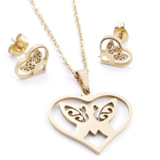 35585-70 SET OF CHAIN, PENDANT AND MATCHING EARRINGS IN STAINLESS STEEL IN GOLD