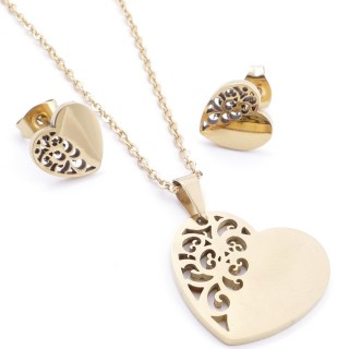 35585-71 SET OF CHAIN, PENDANT AND MATCHING EARRINGS IN STAINLESS STEEL IN GOLD