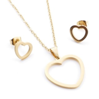 35585-72 SET OF CHAIN, PENDANT AND MATCHING EARRINGS IN STAINLESS STEEL IN GOLD