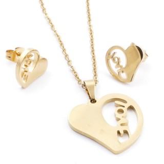 35585-73 SET OF CHAIN, PENDANT AND MATCHING EARRINGS IN STAINLESS STEEL IN GOLD