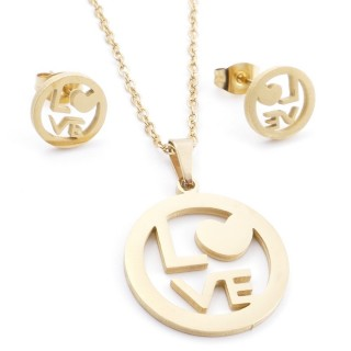 35585-74 SET OF CHAIN, PENDANT AND MATCHING EARRINGS IN STAINLESS STEEL IN GOLD