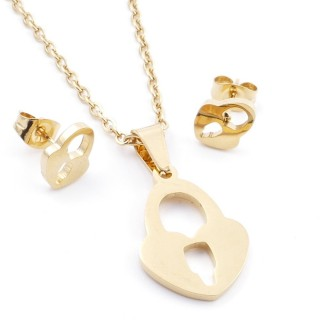 35585-75 SET OF CHAIN, PENDANT AND MATCHING EARRINGS IN STAINLESS STEEL IN GOLD