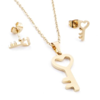 35585-77 SET OF CHAIN, PENDANT AND MATCHING EARRINGS IN STAINLESS STEEL IN GOLD