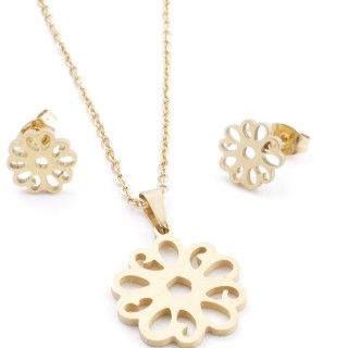 35585-79 SET OF CHAIN, PENDANT AND MATCHING EARRINGS IN STAINLESS STEEL IN GOLD