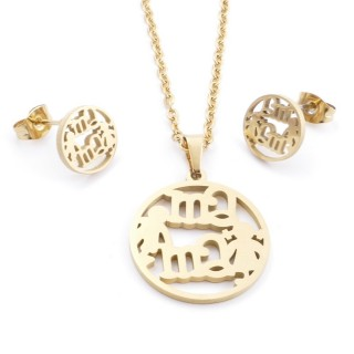 35585-80 SET OF CHAIN, PENDANT AND MATCHING EARRINGS IN STAINLESS STEEL IN GOLD