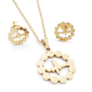 35585-82 SET OF CHAIN, PENDANT AND MATCHING EARRINGS IN STAINLESS STEEL IN GOLD