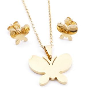 35585-84 SET OF CHAIN, PENDANT AND MATCHING EARRINGS IN STAINLESS STEEL IN GOLD
