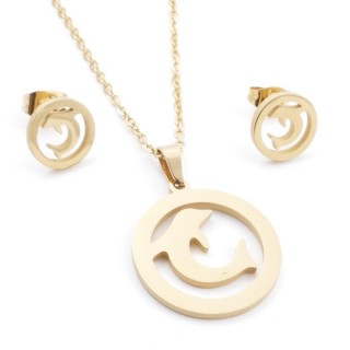 35585-86 SET OF CHAIN, PENDANT AND MATCHING EARRINGS IN STAINLESS STEEL IN GOLD