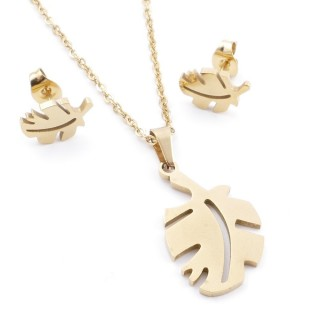 35585-87 SET OF CHAIN, PENDANT AND MATCHING EARRINGS IN STAINLESS STEEL IN GOLD