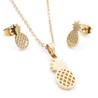 35585-90 SET OF CHAIN, PENDANT AND MATCHING EARRINGS IN STAINLESS STEEL IN GOLD