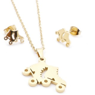 35585-91 SET OF CHAIN, PENDANT AND MATCHING EARRINGS IN STAINLESS STEEL IN GOLD