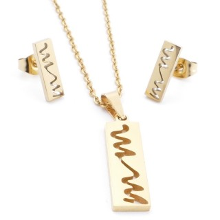 35585-92 SET OF CHAIN, PENDANT AND MATCHING EARRINGS IN STAINLESS STEEL IN GOLD