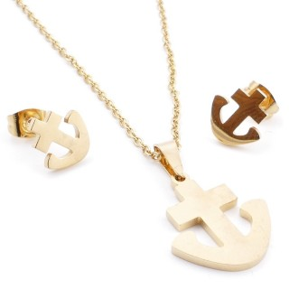 35585-93 SET OF CHAIN, PENDANT AND MATCHING EARRINGS IN STAINLESS STEEL IN GOLD
