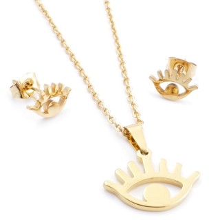 35585-94 SET OF CHAIN, PENDANT AND MATCHING EARRINGS IN STAINLESS STEEL IN GOLD