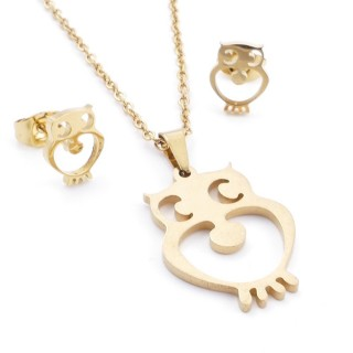 35585-95 SET OF CHAIN, PENDANT AND MATCHING EARRINGS IN STAINLESS STEEL IN GOLD