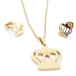 35585-97 SET OF CHAIN, PENDANT AND MATCHING EARRINGS IN STAINLESS STEEL IN GOLD