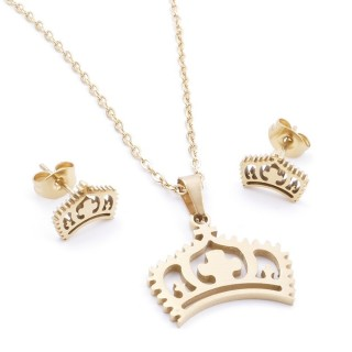 35585-98 SET OF CHAIN, PENDANT AND MATCHING EARRINGS IN STAINLESS STEEL IN GOLD