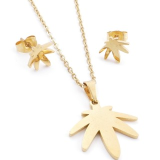 35585-00 SET OF CHAIN, PENDANT AND MATCHING EARRINGS IN STAINLESS STEEL IN GOLD